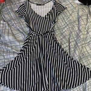 Pinstripe dress.